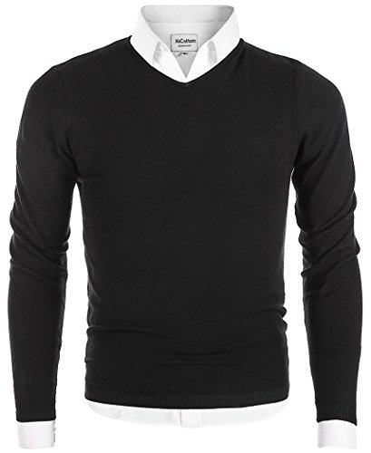 MiCotton Men's V-Neck Long Sleeve Regular Fit Pullover Cotton Casual Sweater Black Large Fit Pullover