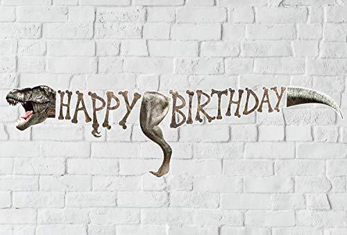 Dinosaur Birthday Banner, Dino Theme Party Decoration, Photographic Jurassic T-Rex Bday Sign -