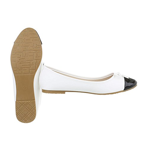 Ital White 10 Ballet Block Classic Ballet Women's Gaq Design at Flats Flats Black Heel SvrSAqZ
