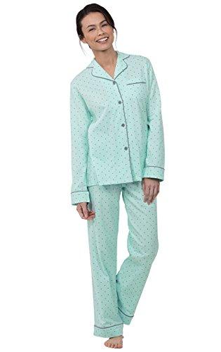 (PajamaGram Womens PJs Sets Soft - Pajama Sets for Women Cotton, Mint, M, 10-12)