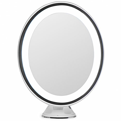 LightLUXE 5X Lighted Magnifying Makeup Mirror w/ Bright LED Lights, 360 Swivel, Locking Suction & Unique Oval Countertop Vanity Design | Finally, See Your Whole Face & Neck with Precision (Mirrors Unique Vanity Bathroom)