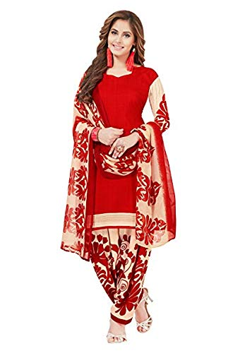 - Muhenera Women's Red & Beige Synthetic Printed Salwar Suit Dress Material (Unstiched) with Dupatta