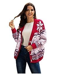 ABYOXI suéter navideño con Cuello en V, Manga Larga, Jacquard con Botones, para Mujer