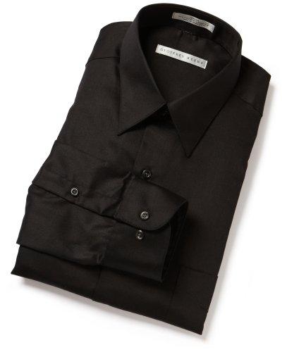 Geoffrey Beene Men's Long Sleeve Wrinkle Free Full Cut Sateen Solid Shirt, Black , 16 - 34/35