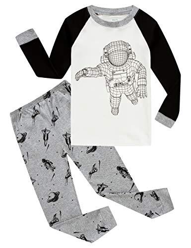 KikizYe Astronaut Big Boys Long Sleeve Pajama Sets 100% Cotton Pjs Size 10]()