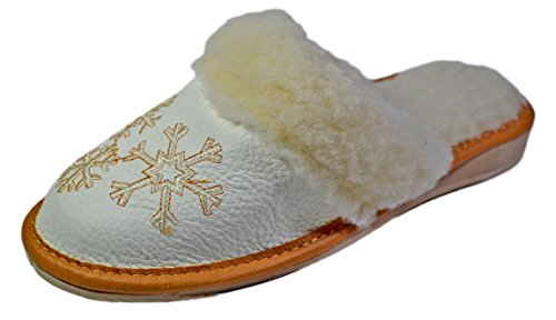 Reindeer Leather Women's Genuine Soft Leather Warm Winter Bedroom Scuff, Ladies White Indoor House Plush Wool Slippers, Fancy Comfortable Slip-on (Reindeer Leather)