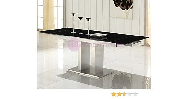 Mesa extensible de comedor con cristal negro Febea: Amazon.es: Hogar