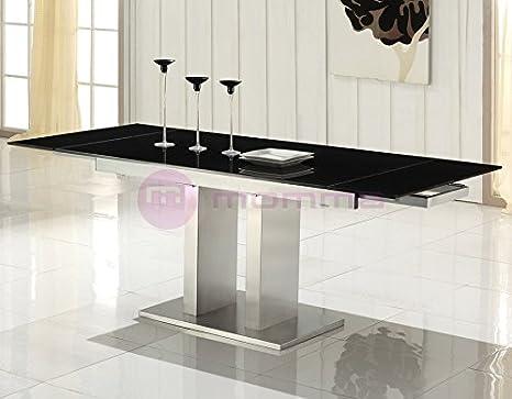 Mesa extensible de comedor con cristal negro Febea