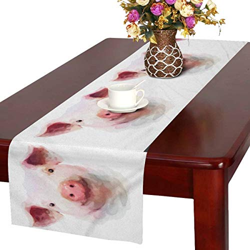 InterestPrint Galaxy Watercolor Pig Hipster Animals Table Runner Cotton Linen Cloth Placemat for Office Kitchen Dining Wedding Party Banquet 16 x 72 inches