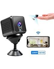 $35 » Mini Camera 2MP Wifi Camera 1080p, Everenty Mini Camera with Audio Live Wifi Mini Camera Wifi 1080P with Night Vision and Motion Detection, Built-in Battery, for Indoor/Home/Apartment/Office