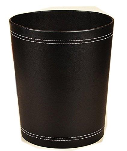 (Floor Stand Leather Waste bin Paper Board Trash can 12 liters Garbage Basket case for Hotel Office (Black))