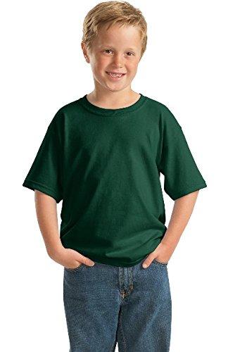 (Gildan Youth DryBlend 5.6 oz, 50/50 T-Shirt - FOREST GREEN - XS)