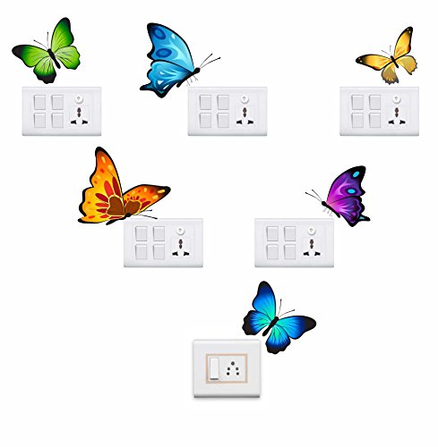 Decor kafe Colorful Butterflies Wall Sticker Standard PVC Vinyl Size - Height 23cm X Width 23cm (Set...