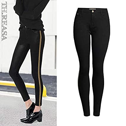 6277cc32efe9cd Image Unavailable. Image not available for. Color: LooBooShop High Waist  Skinny Jeans Woman Patchwork Women Jeans Pants Pencil Jeans Femme Black