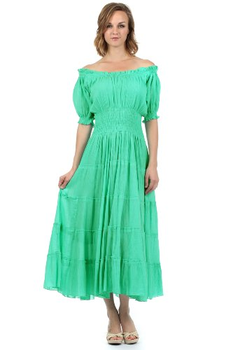 Sakkas 3702 Cotton Crepe Smocked Peasant Gypsy Boho Renaissance Dress - Mint/One Size