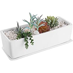 MyGift 14-Inch Rectangular Modern Ceramic Succulent Planter Pot, Window Box with Saucer, White