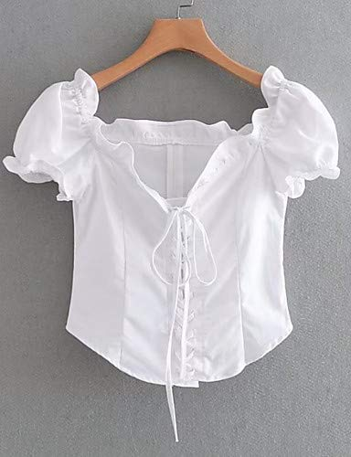 Femme White Solid Colored Lace up YFLTZ Blouse Z6Hqwzxv