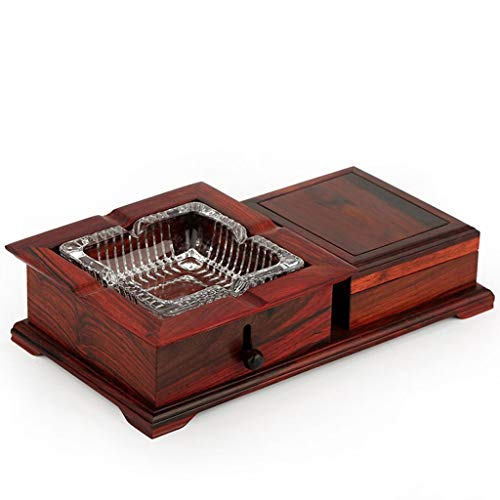 (C & S CS Redwood Glass Crystal Living Room Ashtray Household Solid Wood Creative Personality Multi-Functional Chinese Large Ashtray Rectangular Series (Color : B))
