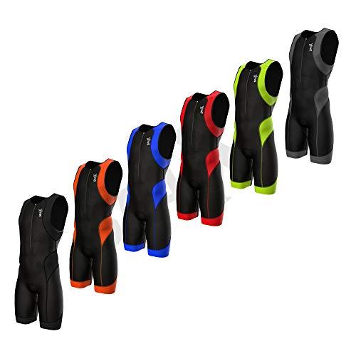 SPARX Mens Performance Triathlon Suit Race Tri Suit 2 Pockets UV Protective Italian Fabric   Swim-Bike-Run   Trisuit (Black/Red, Large)