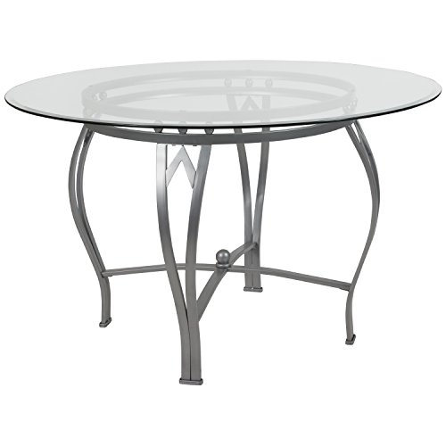 - Flash Furniture Syracuse 48'' Round Glass Dining Table with Silver Metal Frame