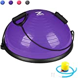 ZELUS 23 Inch Balance Ball Trainer - Half Yoga Ball Balance Trainer with Resistance Bands & Foot Pump for Yoga Fitness Home Gym Workout