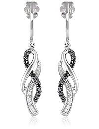 10K White Gold Black and White Diamond Cross Over Earrings (1/4 cttw)