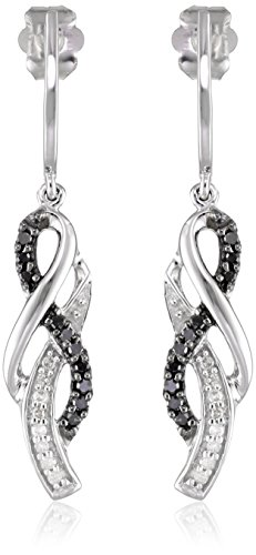 10K White Gold Black and White Diamond Infinity Earrings