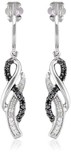 10K White Gold Black and White Diamond Infinity Earrings (1/4 cttw) (Black Diamond Earrings White Gold)