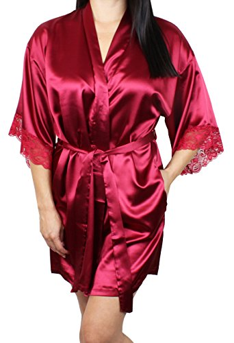Women's Satin Kimono Bridesmaid Short Robe Lace Trim Sleeves - Red (Black And Red Robe)