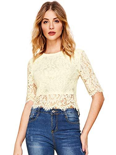 MAKEMECHIC Women's Long Sleeve Sexy Sheer Blouse Mesh Lace Crop Top Beige -