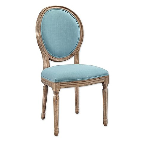 Shiraz Linen Oval Back Chairs (Set of 2) (Blue)