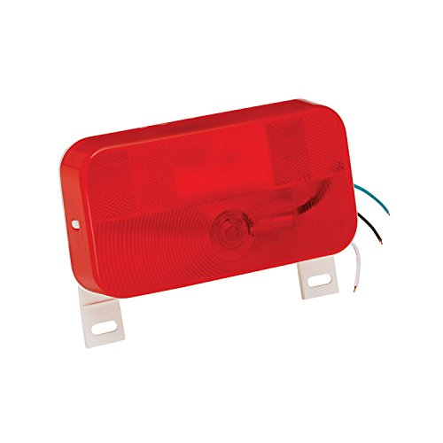Bargman 31-92-003 Mount Stop/Tail/Turn Light (Surface with License Light and Bracket - White (Bargman Tail Light Lens)