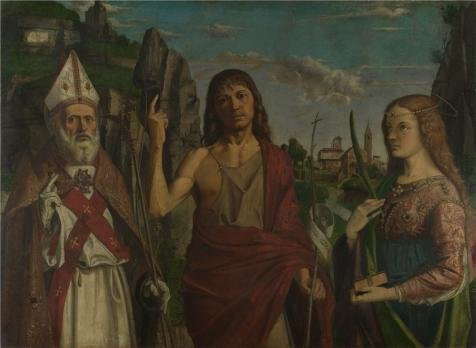 [High Quality Polyster Canvas ,the Reproductions Art Decorative Canvas Prints Of Oil Painting 'Bartolomeo Montagna - Saint Zeno, Saint John The Baptist And A Female Martyr,about 1495', 8x11 Inch / 20x28 Cm Is Best For Laundry Room Decor And Home Decor And] (Price Is Right Halloween Costumes 2016)
