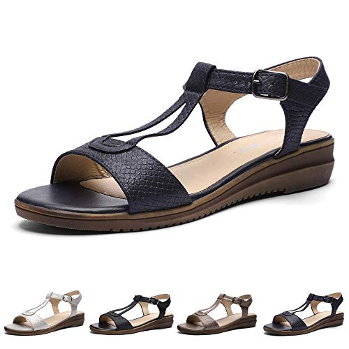 CINAK Women Comfort Flat Sandals-Cute Open Toe One Band Adjustable Ankle Strap Stylish Summer Shoes Navy Blue Adjustable Strap Cute Shoes