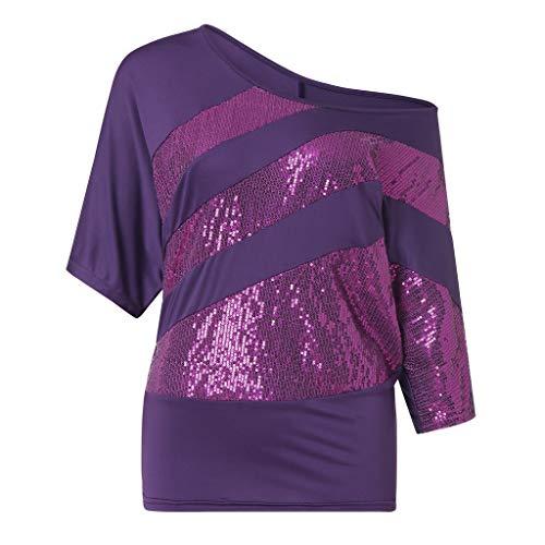 Xinantime Short Sleeve Blouse Sweatshirt Women Cold Shoulder Plus Size Sequin T Shirts Tops Tunic Purple ()