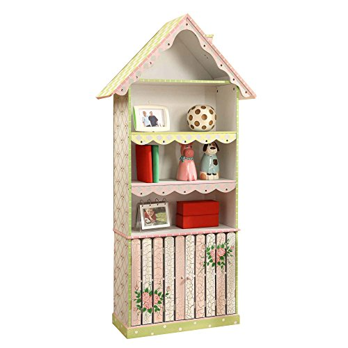 Fantasy Fields - Cracked Rose Thematic Kids Wooden Bookcase with Storage | Imagination Inspiring Hand Crafted & Hand Painted Details   Non-Toxic, Lead Free Water-based - Bookshelf House Doll