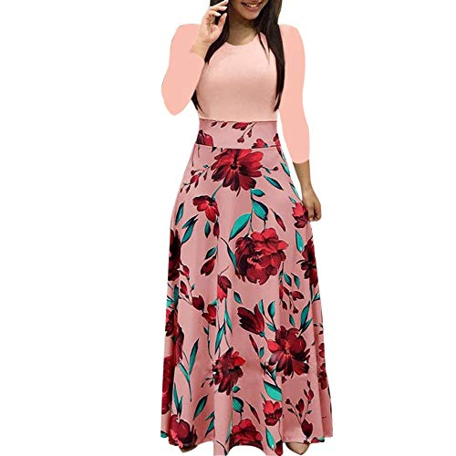 Shusuen Ladies Floral Printed Maxi Dress Casual Long Sleeve Party Long Swing Dress Summer 2019 Beach Coverups for Women Pink -