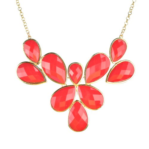 JANE STONE Red Drop Bubble Fashion Chunky Jewelry Statement Bib Necklace(Fn0835-Coral Red) (Drop Bib Necklace)