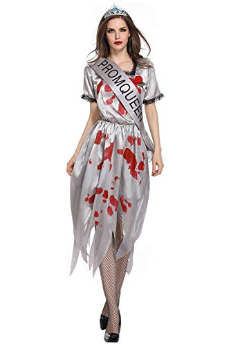 Women's Ghost Bride Dress Uniform Grim Reaper Costume Bloody Hell Goddess Outfit Halloween Performance Clothing (M, Silver Gray) ()