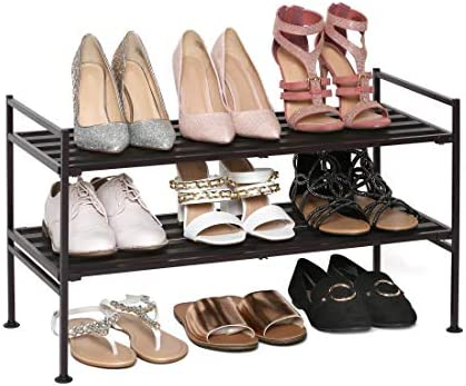Seville Classics 2-Tier Stackable 9-Pair Shoe Rack Wood Resin Metal Freestanding Closet, Entryway, Bedroom Footwear Organizer, Espresso Slat