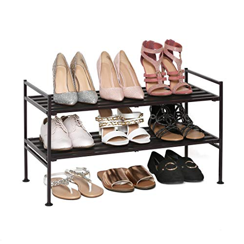 Seville Classics 2-Tier Stackable 6-Pair Woodgrain Resin Slat Shelf Sturdy Metal Frame Shoe Storage Rack Organizer, Perfect for Bedroom, Closet, Entryway, Dorm Room, Espresso
