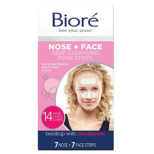 (Bioré Blackhead Removing and Pore Unclogging Deep Cleansing Pore Strip for Nose, Chin, and Forehead, Cruelty Free, Vegan, Oil-Free & Non-Comedogenic, for all skin types (14 Count) (Packaging May Vary))