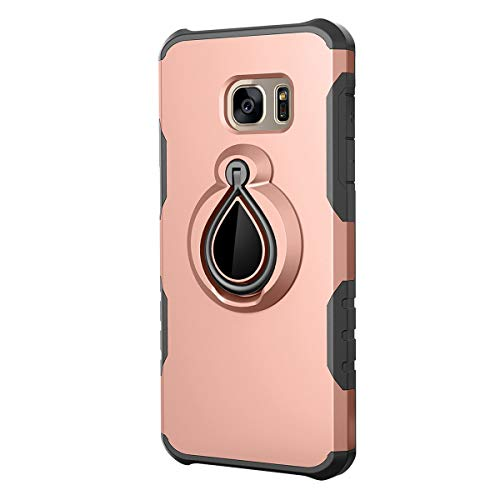 Case Compatible with Galaxy S7 Ultra-Thin Silicone TPU S7 Edge Ring Kickstand Cover Magnetic Car Mount Bumper Shell (Rose, S7)