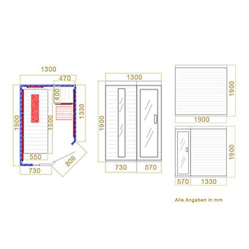 Artsauna Infrarotkabine Kolding Triplex-Heizsystem /& Hemlockholz Infrarotsauna mit Relaxliege /& Eckeinstieg f/ür 2 Personen