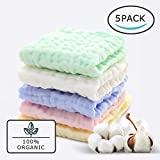 Baby Muslin Organic Washcloths(12x12 Inches,5 Colors)-100% Natural Cotton Baby Wipes-Super Soft Face Towel for Sensitive Skin-Baby Register Shower Gift!