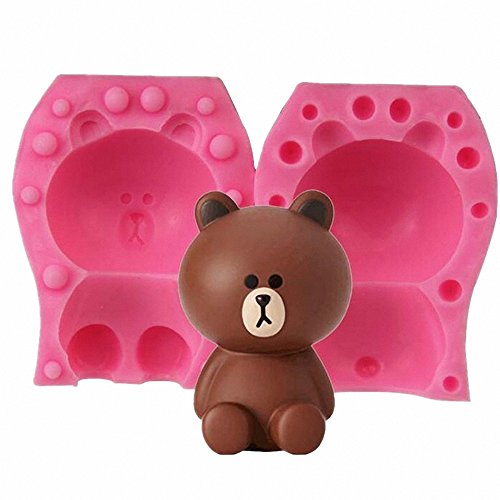 3D Bear Candle Mold - MoldFun Teddy Bear Silicone Mold for Fondant, Cake Decorating, Chocolate, Handmade Soap, Lotion Bar, Bath Bomb, Wax, Crayon, Polymer Clay