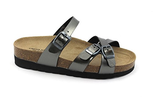 Grunland Hola CB0300 Gun Barrel Gray Slippers Woman Birk Anatomical Grigio wuSGfy