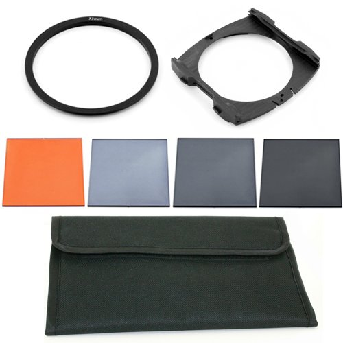 77mm Adapter Ring + Wide Holder + Orange + ND2 ND4 ND8 + 6 Pocket Pouch for Cokin P NEW