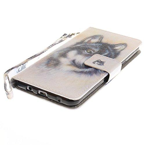 Para Samsung Galaxy A5(2016)SM-A510F funda, (magnolia) caja del teléfono de la PU patrón en pintado ,Función de Soporte Billetera con Tapa para Tarjetas correa de mano soporte para teléfono lobo