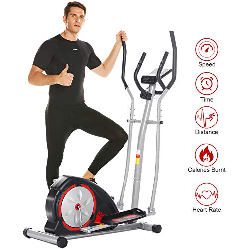ANCHEER Elliptical Machine, Magnetic Elliptical Exercise Training Machine with LCD Monitor, Pulse Rate Grips and Tablet Holder,120 KG Max Weight,8-Level Magnetic Resistance (Black)